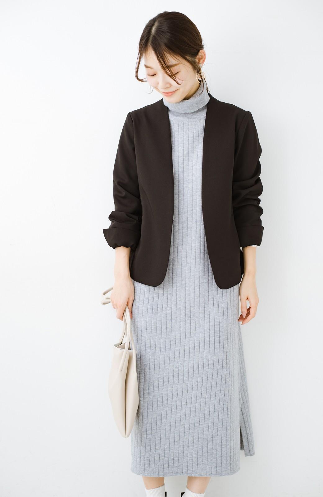 haco! セットで着るだけパッとかわいい ニットトップス&ノースリーブニットワンピースセット <グレー>の商品写真10
