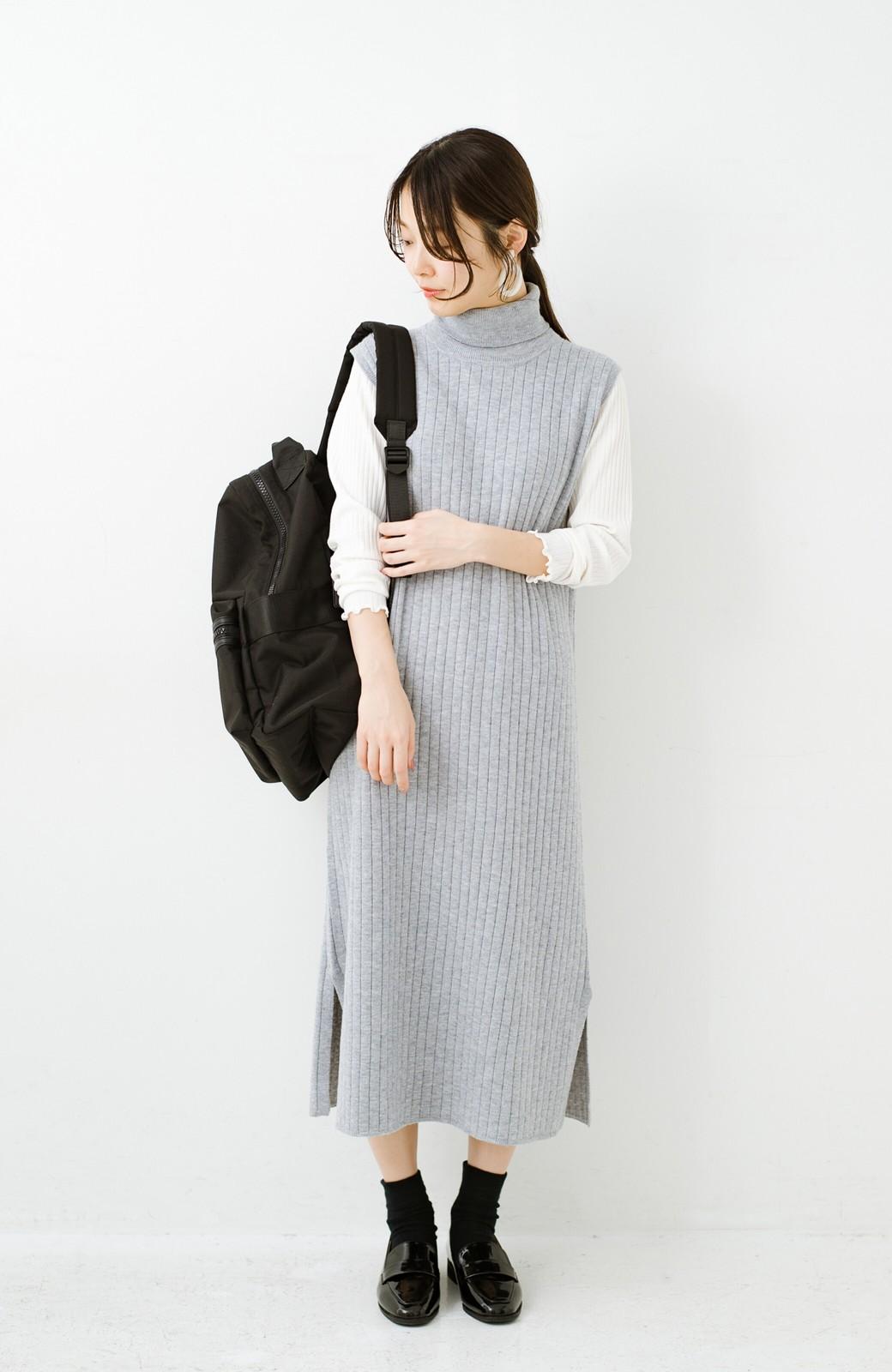 haco! セットで着るだけパッとかわいい ニットトップス&ノースリーブニットワンピースセット <グレー>の商品写真4