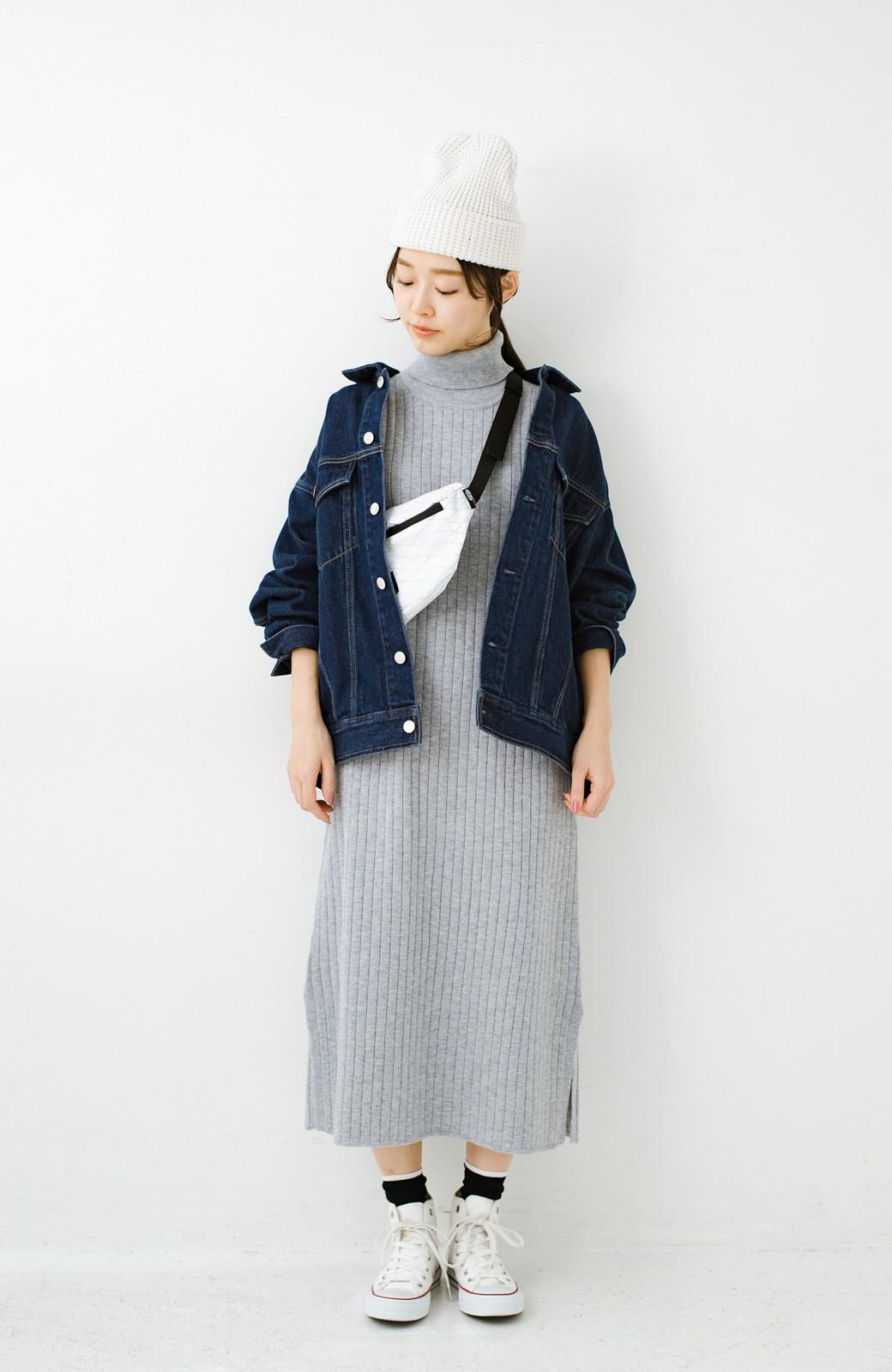 haco! セットで着るだけパッとかわいい ニットトップス&ノースリーブニットワンピースセット <グレー>の商品写真19