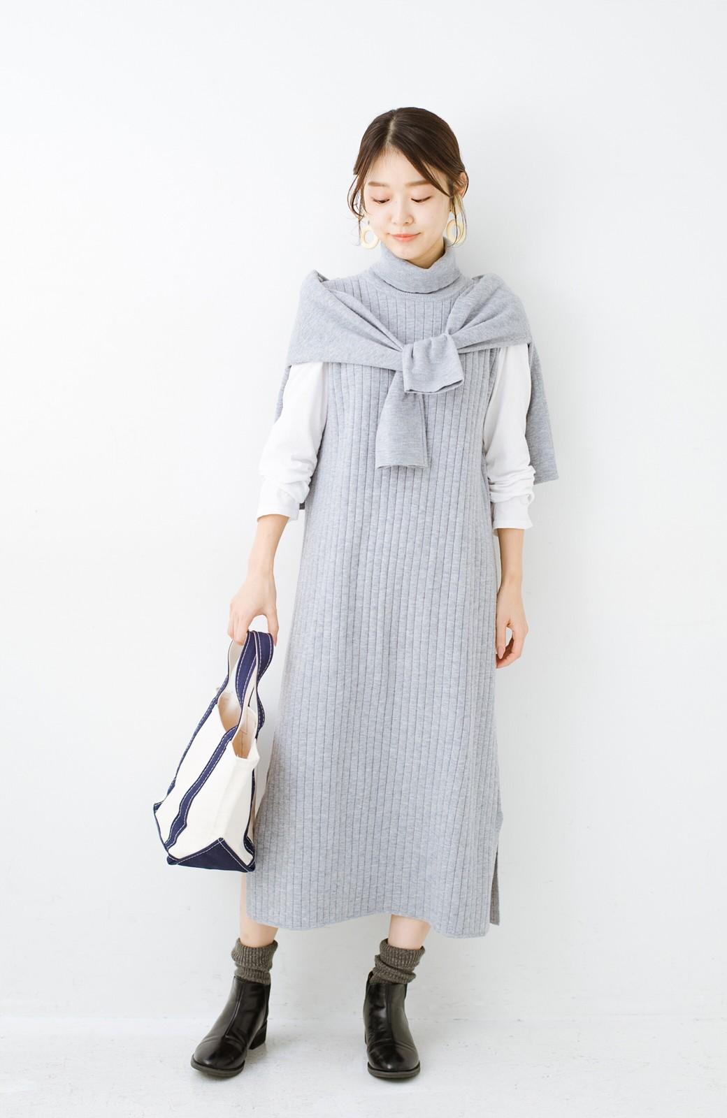 haco! セットで着るだけパッとかわいい ニットトップス&ノースリーブニットワンピースセット <グレー>の商品写真14