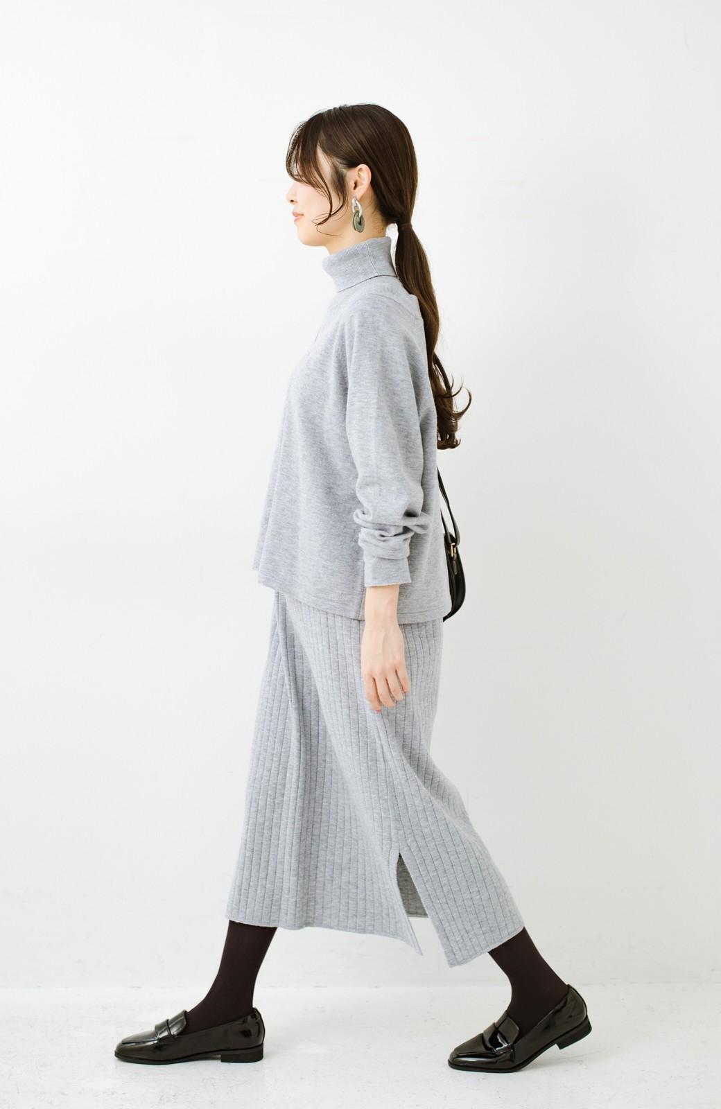 haco! セットで着るだけパッとかわいい ニットトップス&ノースリーブニットワンピースセット <グレー>の商品写真9