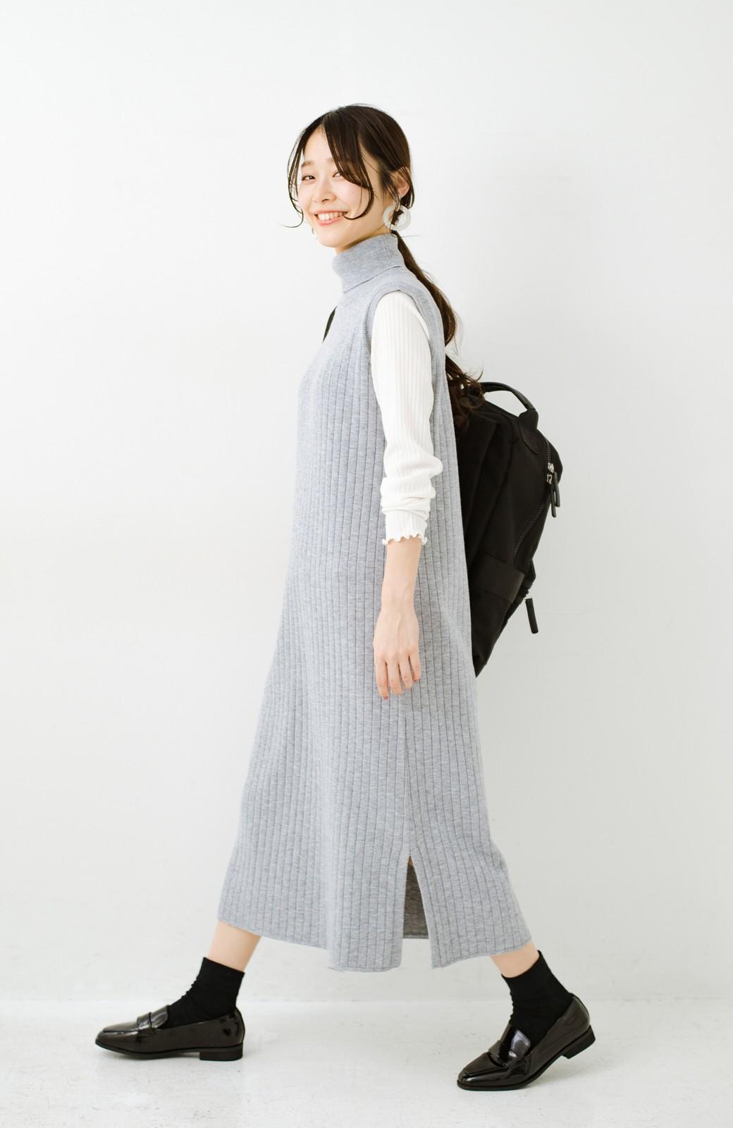 haco! セットで着るだけパッとかわいい ニットトップス&ノースリーブニットワンピースセット <グレー>の商品写真21