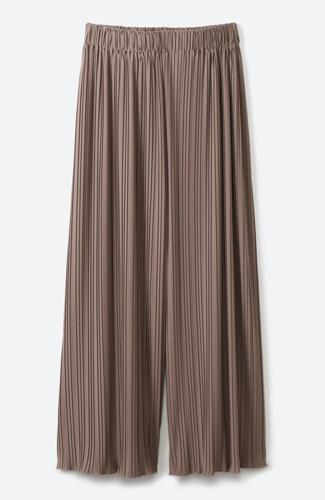 haco! パンツ派さんのデートにもカジュアル派さんの重ね着にも便利なプリーツパンツ  <ブラウン>の商品写真16