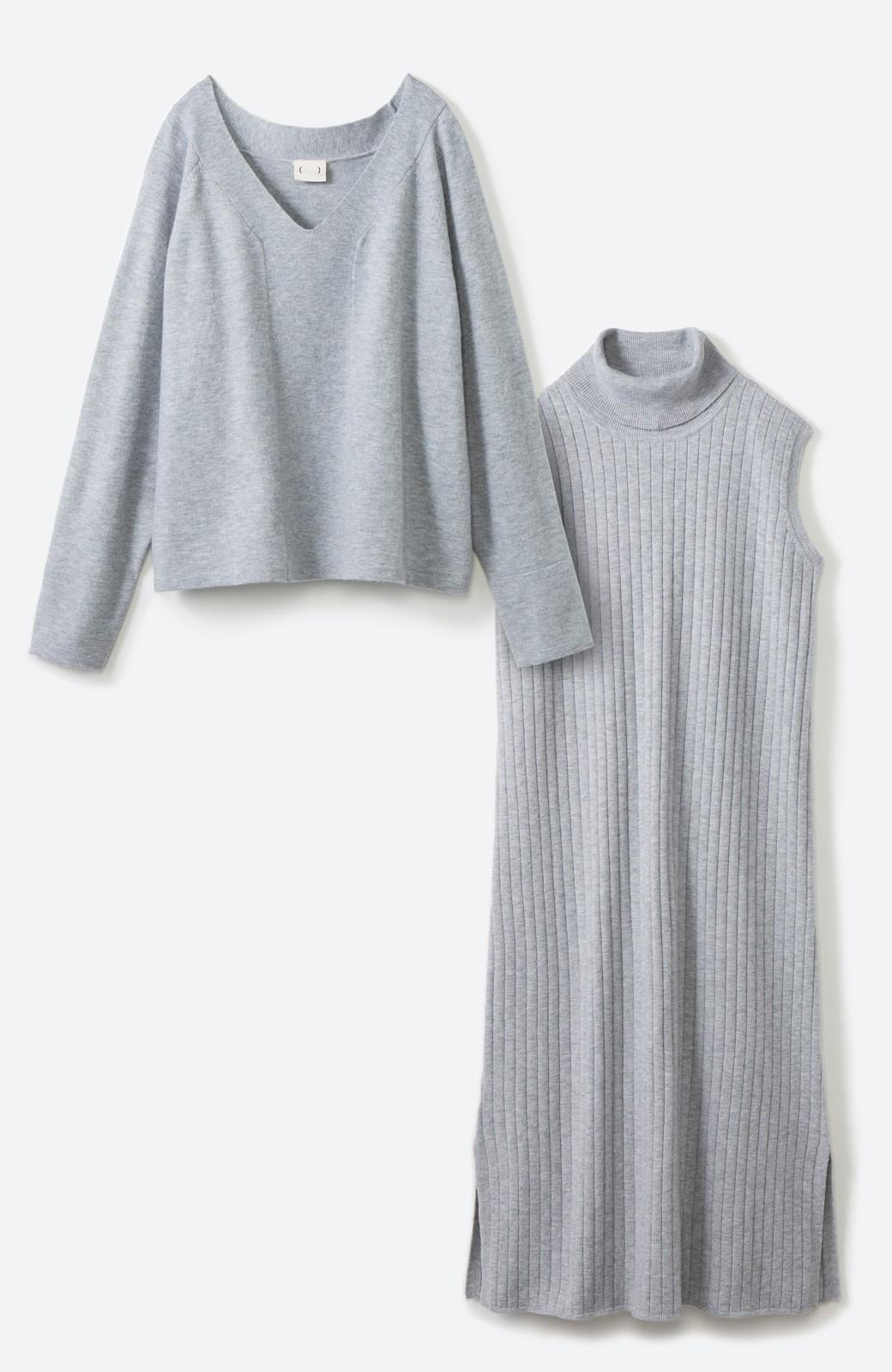 haco! セットで着るだけパッとかわいい ニットトップス&ノースリーブニットワンピースセット <グレー>の商品写真31