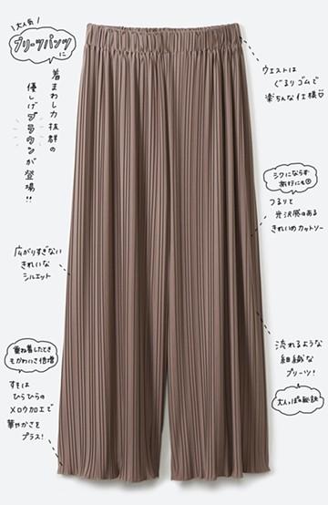 haco! パンツ派さんのデートにもカジュアル派さんの重ね着にも便利なプリーツパンツ  <ブラウン>の商品写真