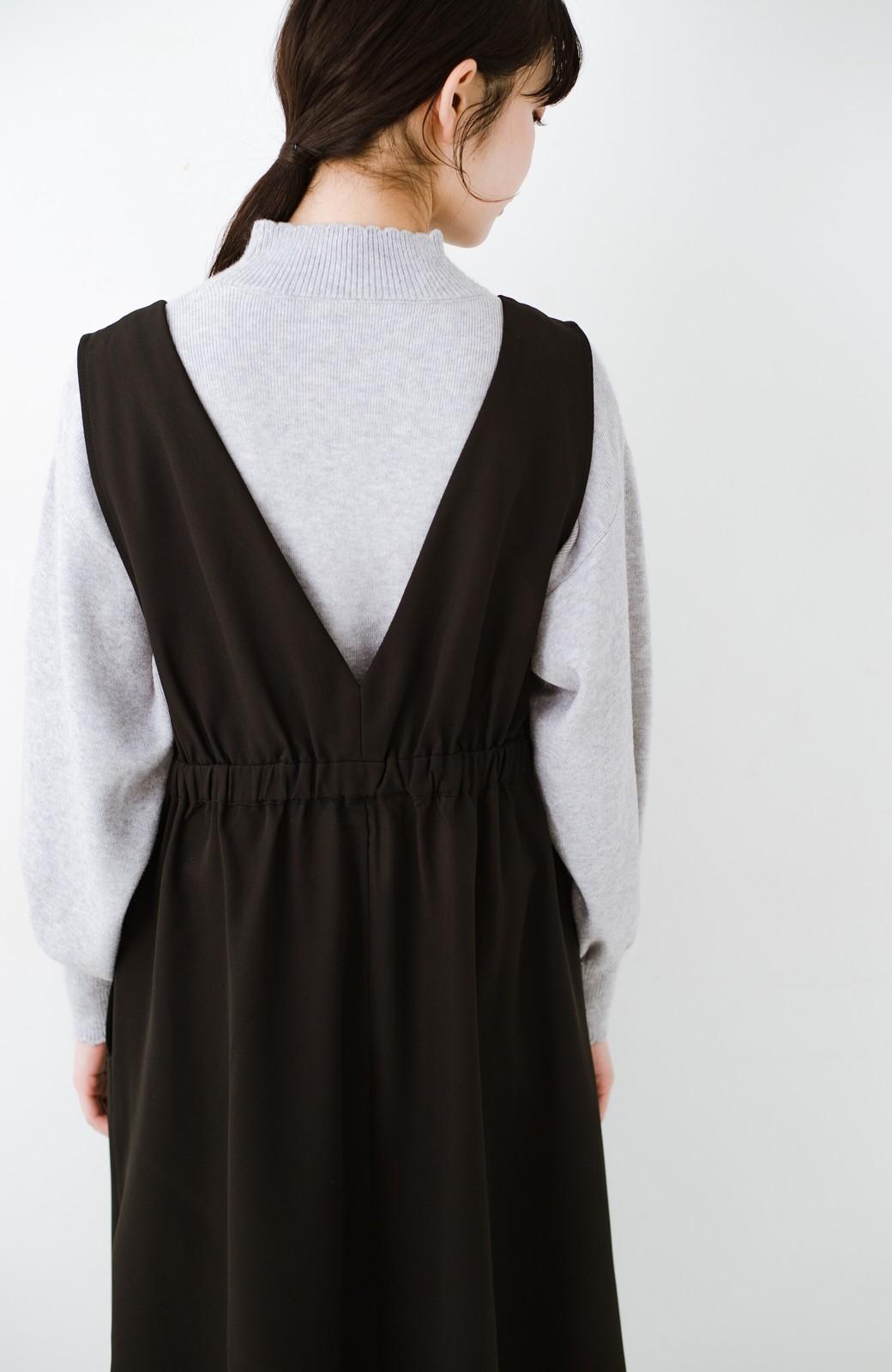 haco! ニットにもTシャツにも似合う ずっと着られてパッと華やぐジャンパースカート <ブラック>の商品写真4