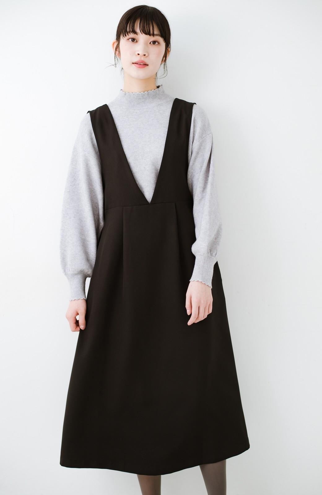haco! ニットにもTシャツにも似合う ずっと着られてパッと華やぐジャンパースカート <ブラック>の商品写真13