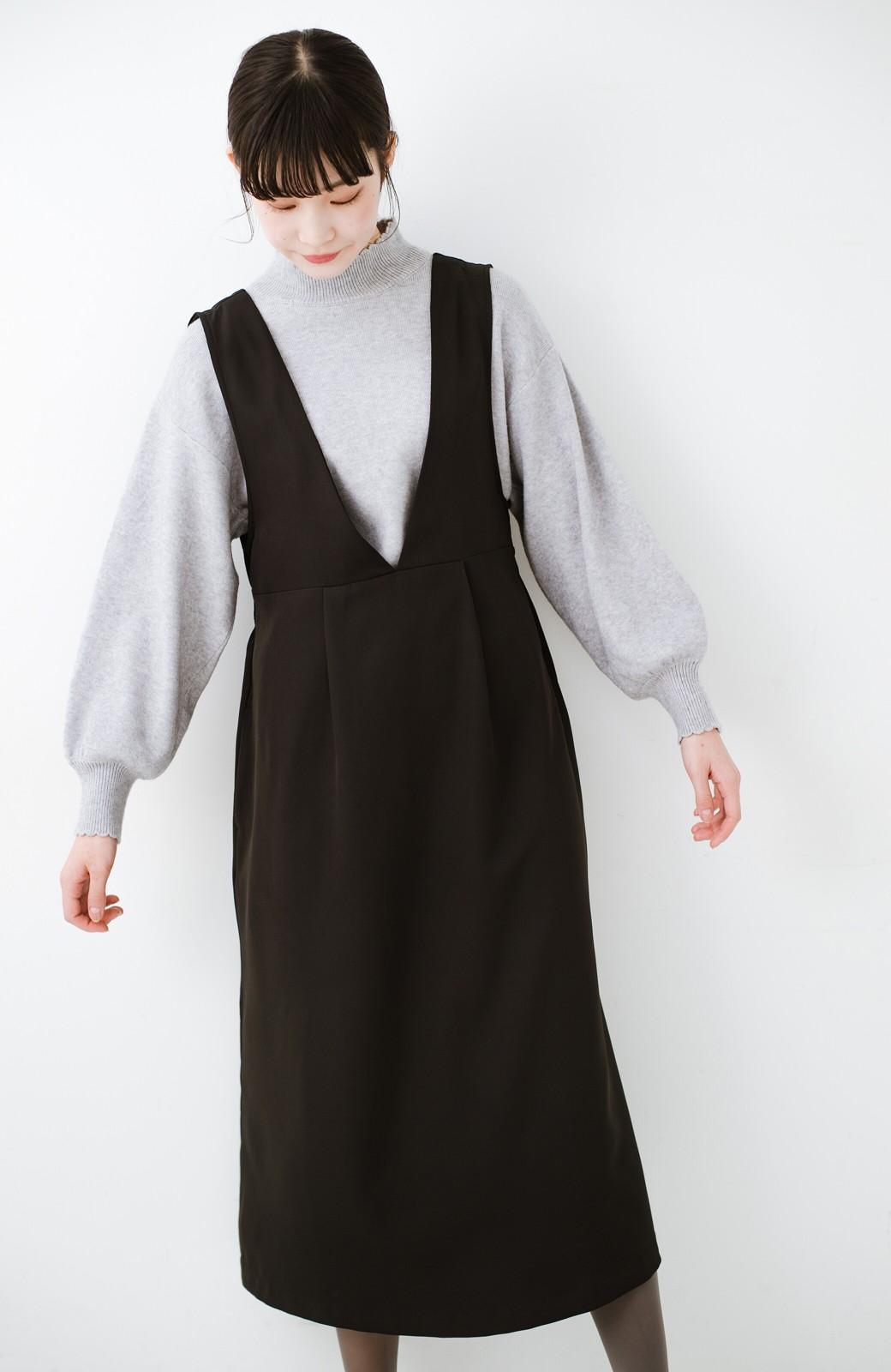haco! ニットにもTシャツにも似合う ずっと着られてパッと華やぐジャンパースカート <ブラック>の商品写真20
