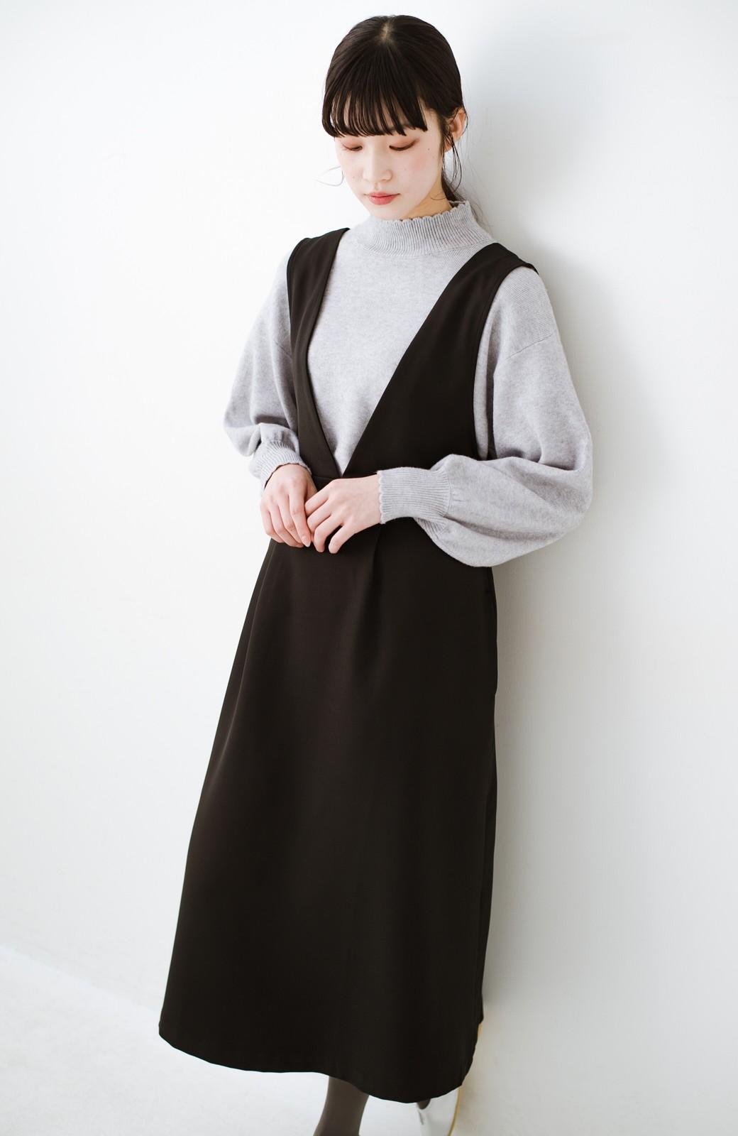 haco! ニットにもTシャツにも似合う ずっと着られてパッと華やぐジャンパースカート <ブラック>の商品写真10