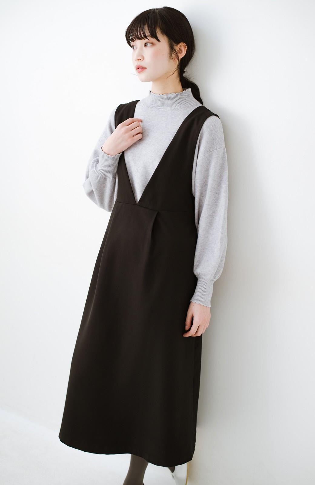 haco! ニットにもTシャツにも似合う ずっと着られてパッと華やぐジャンパースカート <ブラック>の商品写真21