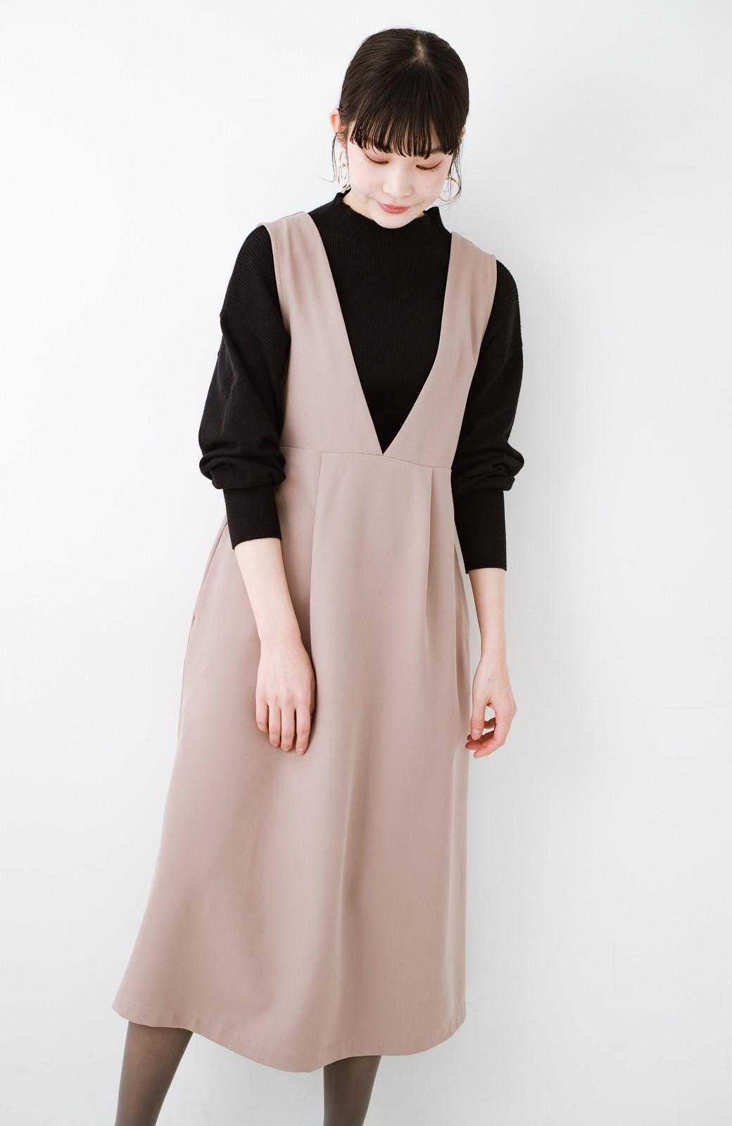 haco! ニットにもTシャツにも似合う ずっと着られてパッと華やぐジャンパースカート <ピンクベージュ>の商品写真17