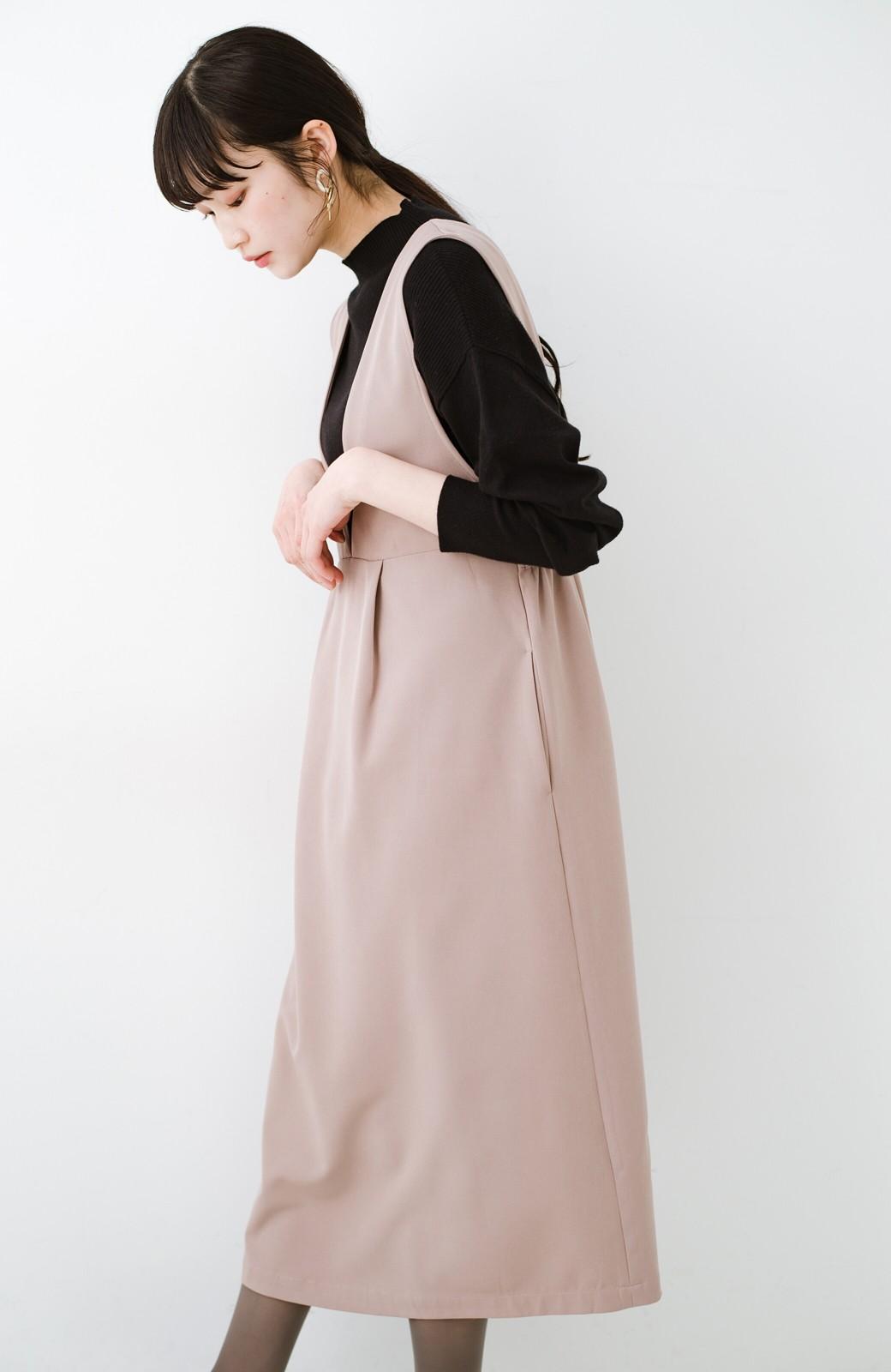 haco! ニットにもTシャツにも似合う ずっと着られてパッと華やぐジャンパースカート <ピンクベージュ>の商品写真18