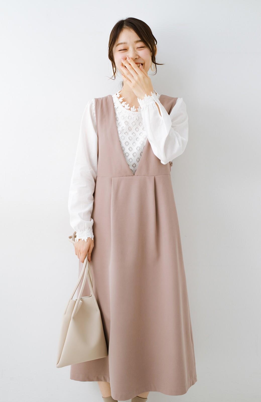 haco! ニットにもTシャツにも似合う ずっと着られてパッと華やぐジャンパースカート <ピンクベージュ>の商品写真19
