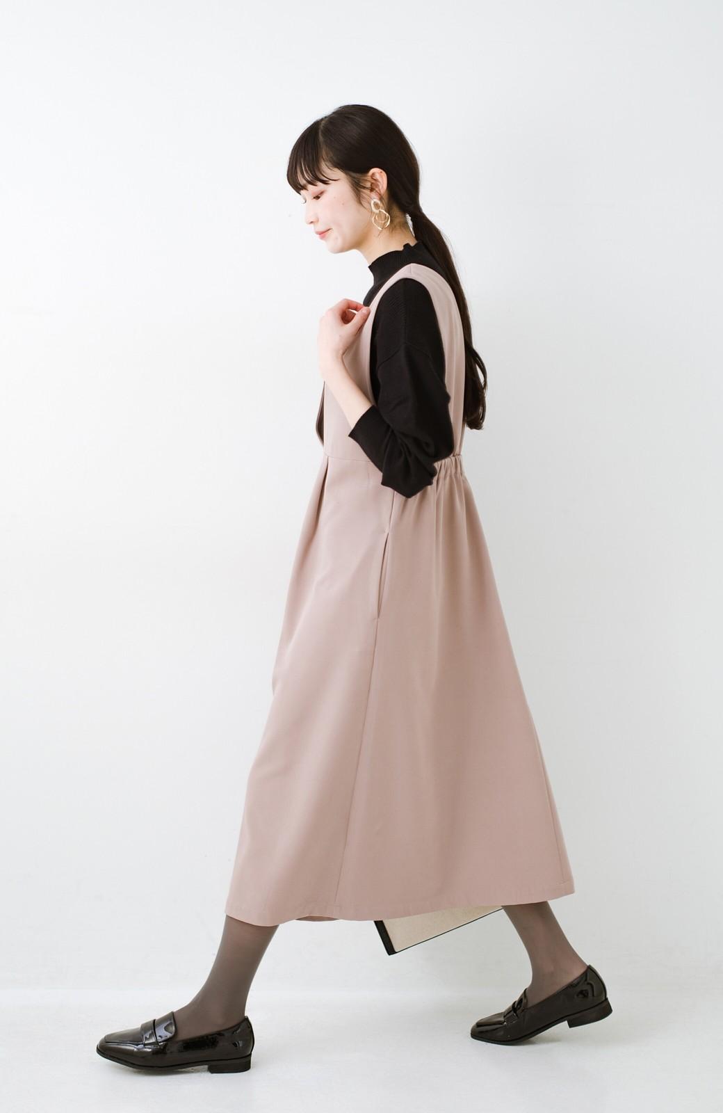 haco! ニットにもTシャツにも似合う ずっと着られてパッと華やぐジャンパースカート <ピンクベージュ>の商品写真15
