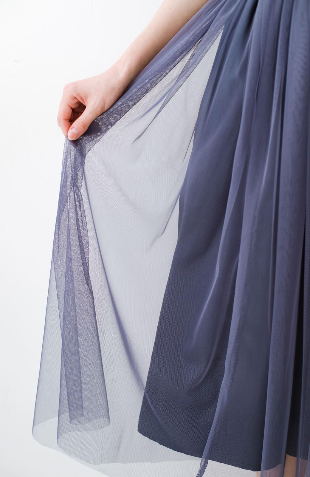haco! 着るだけでルンとした気分になる! 長ーーい季節着られてずっと使えるオトナのためのチュールスカート <ネイビー>の商品写真10