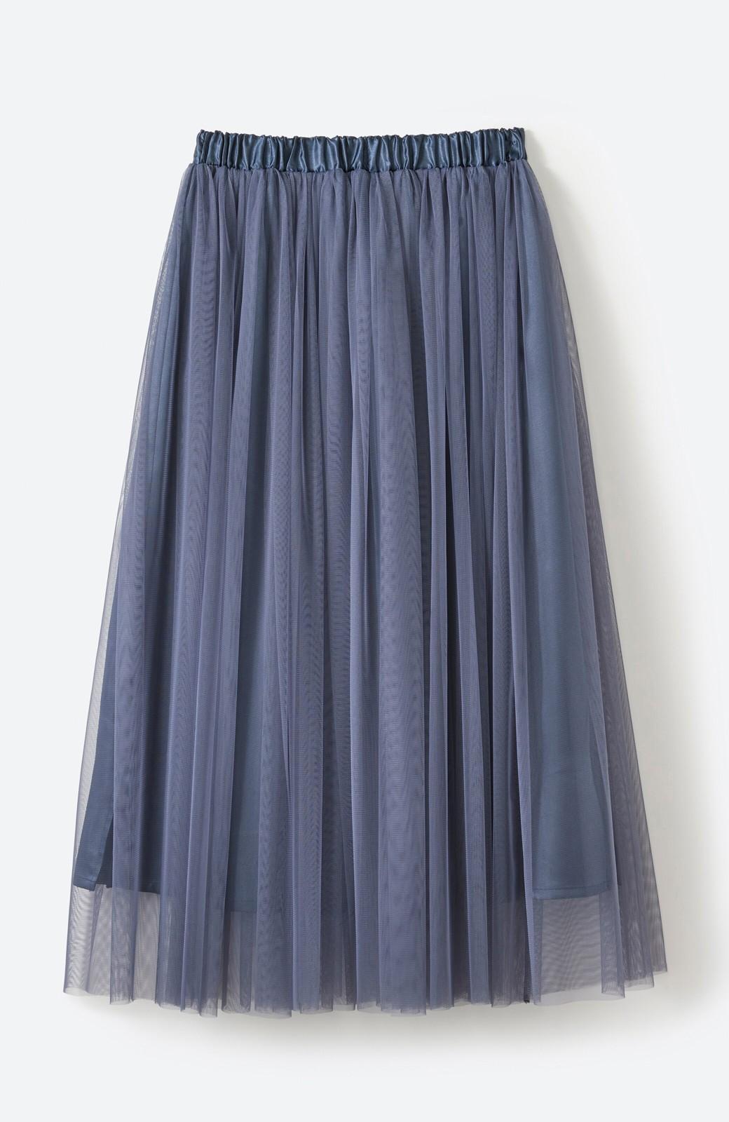 haco! 着るだけでルンとした気分になる! 長ーーい季節着られてずっと使えるオトナのためのチュールスカート <ネイビー>の商品写真17