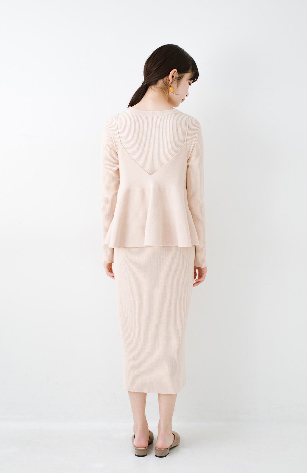 haco! ニットワンピースとキャミソールを重ねて着るだけでパッとオシャレに見えるうれしいセット by style zampa <ライトベージュ>の商品写真12