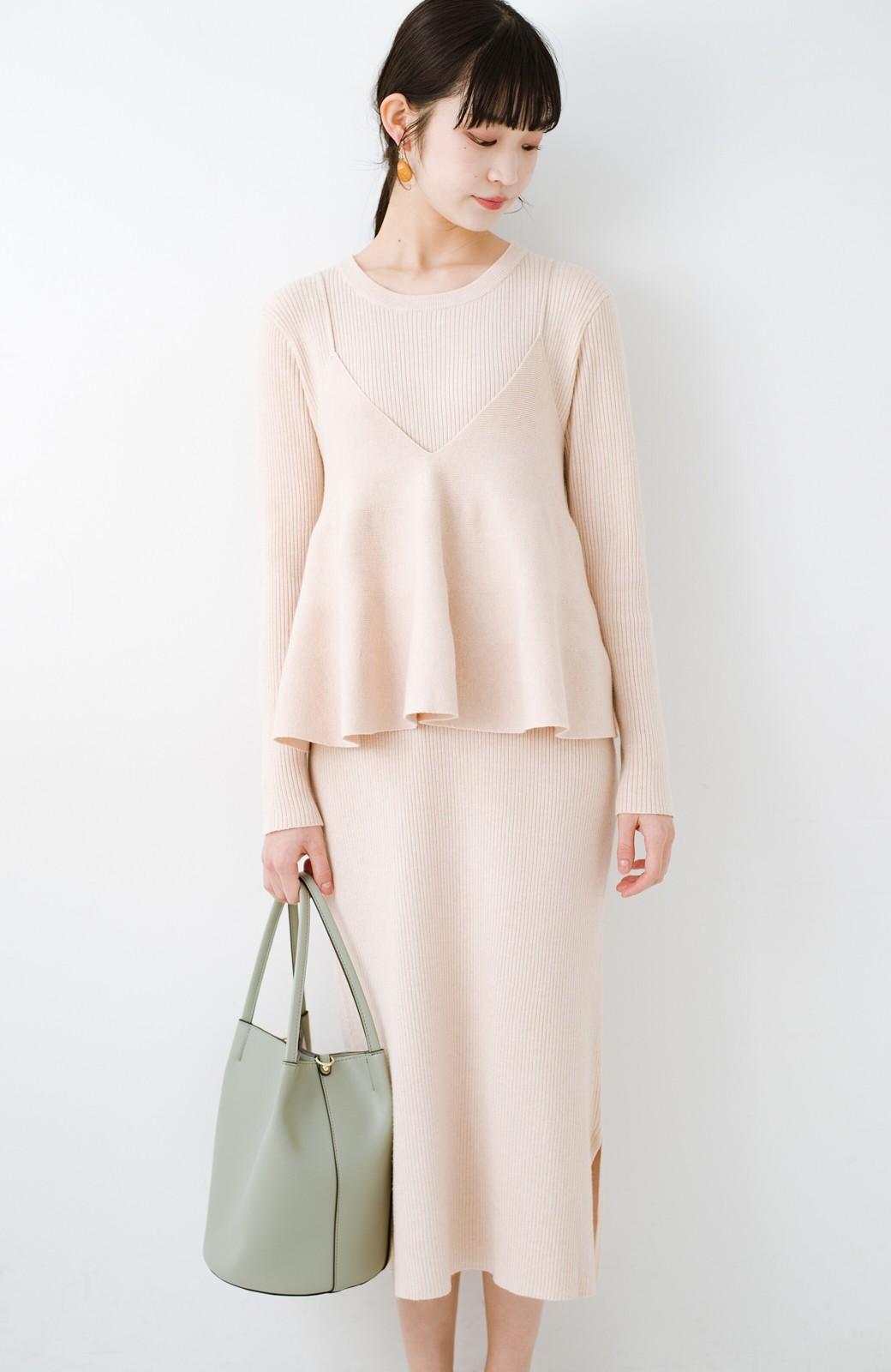 haco! ニットワンピースとキャミソールを重ねて着るだけでパッとオシャレに見えるうれしいセット by style zampa <ライトベージュ>の商品写真9