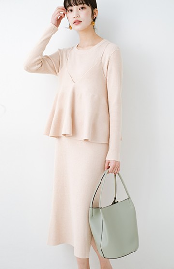 haco! ニットワンピースとキャミソールを重ねて着るだけでパッとオシャレに見えるうれしいセット by style zampa <ライトベージュ>の商品写真