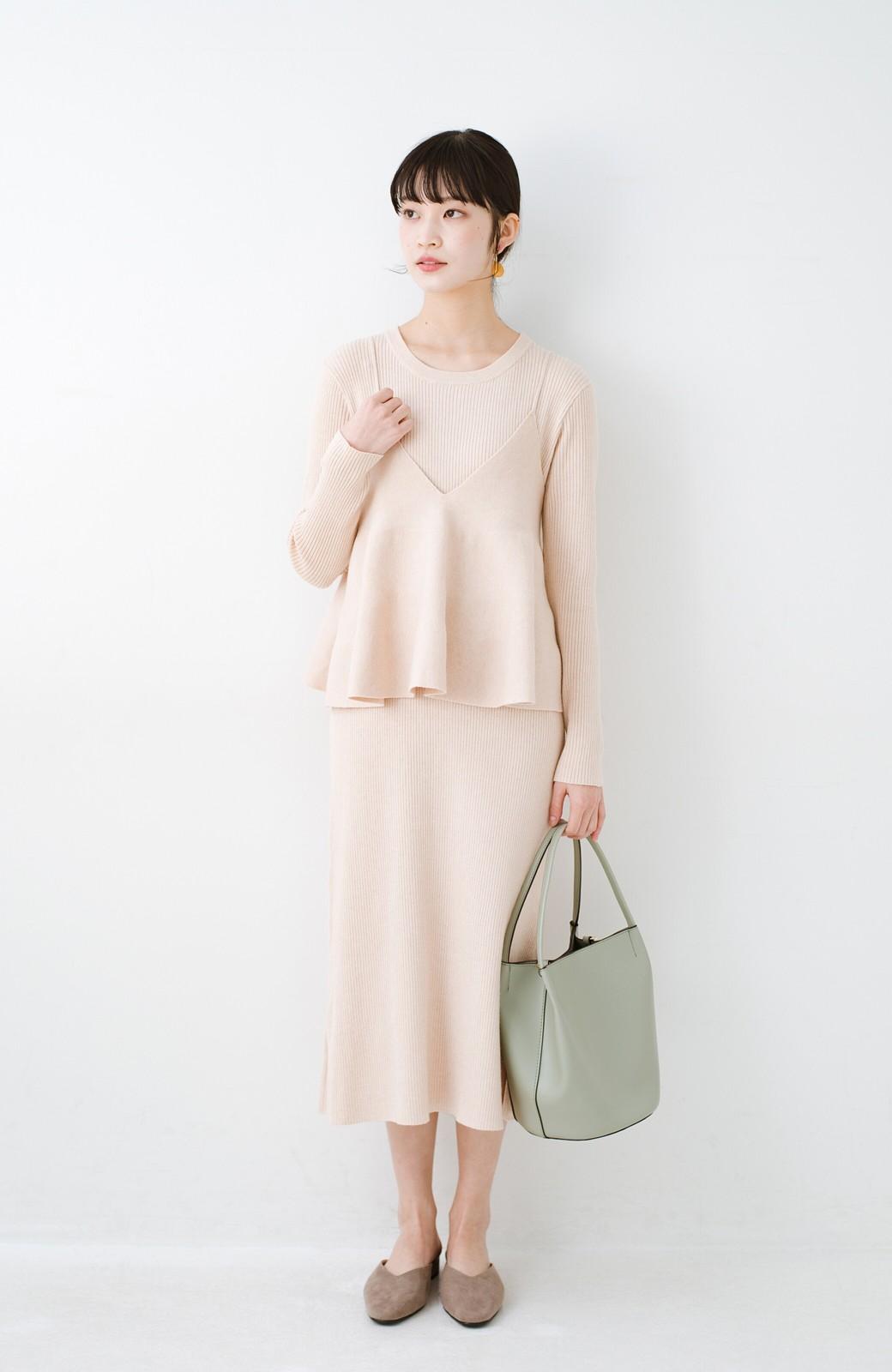 haco! ニットワンピースとキャミソールを重ねて着るだけでパッとオシャレに見えるうれしいセット by style zampa <ライトベージュ>の商品写真8