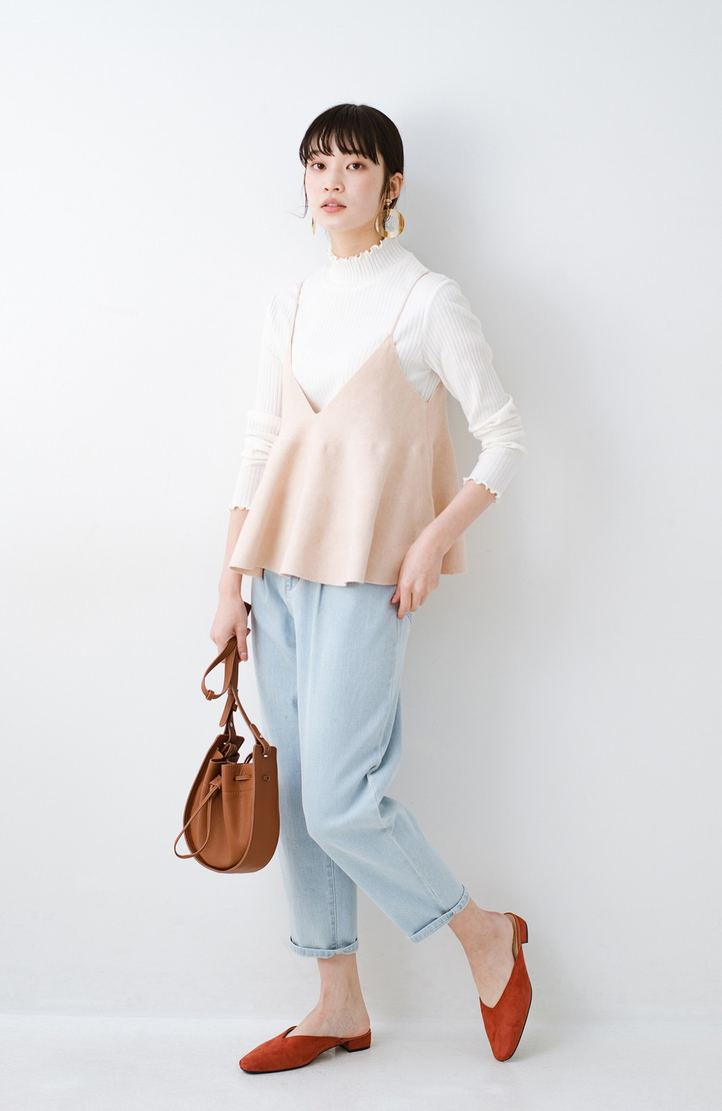 haco! ニットワンピースとキャミソールを重ねて着るだけでパッとオシャレに見えるうれしいセット by style zampa <ライトベージュ>の商品写真18
