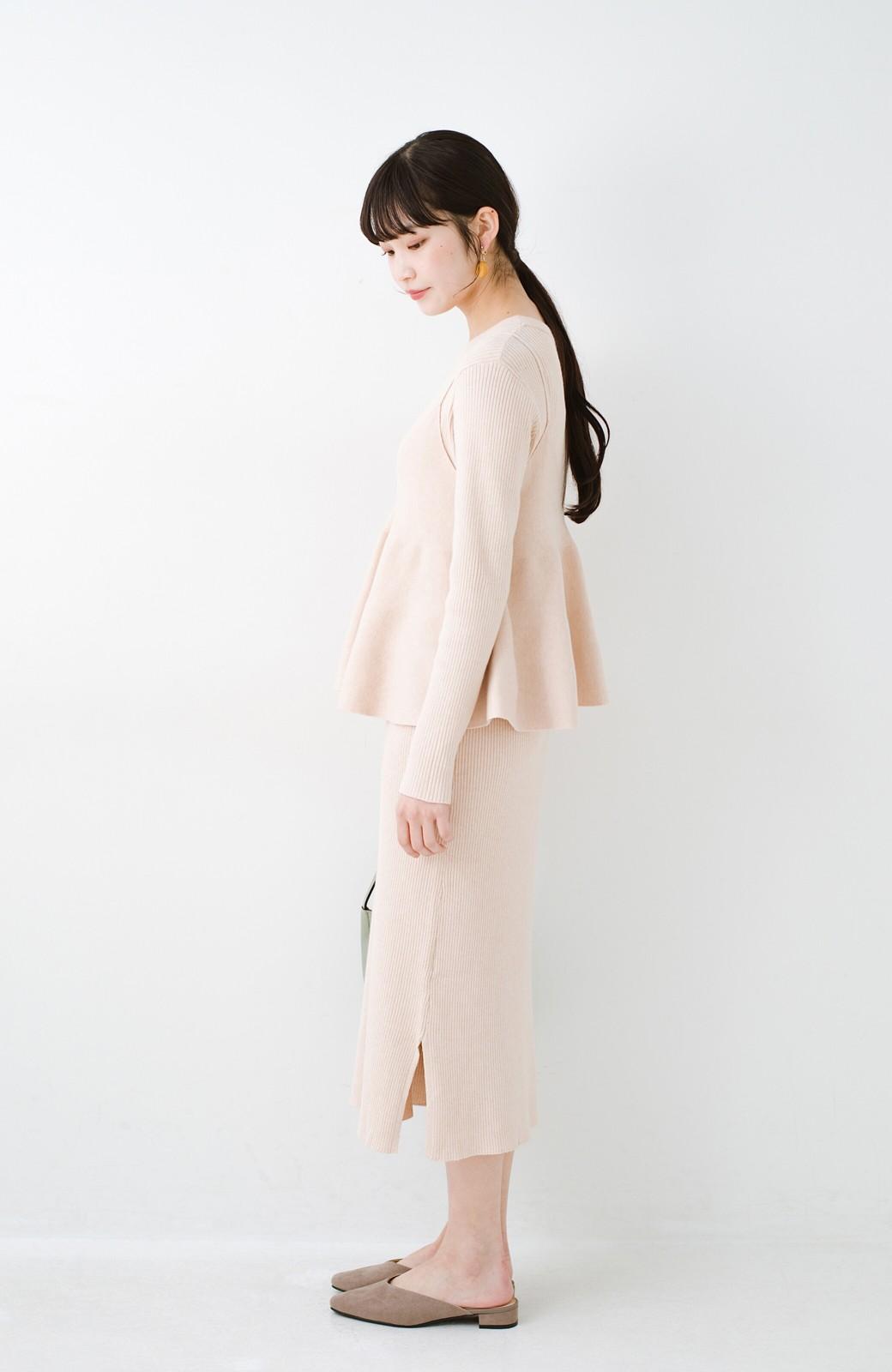 haco! ニットワンピースとキャミソールを重ねて着るだけでパッとオシャレに見えるうれしいセット by style zampa <ライトベージュ>の商品写真11