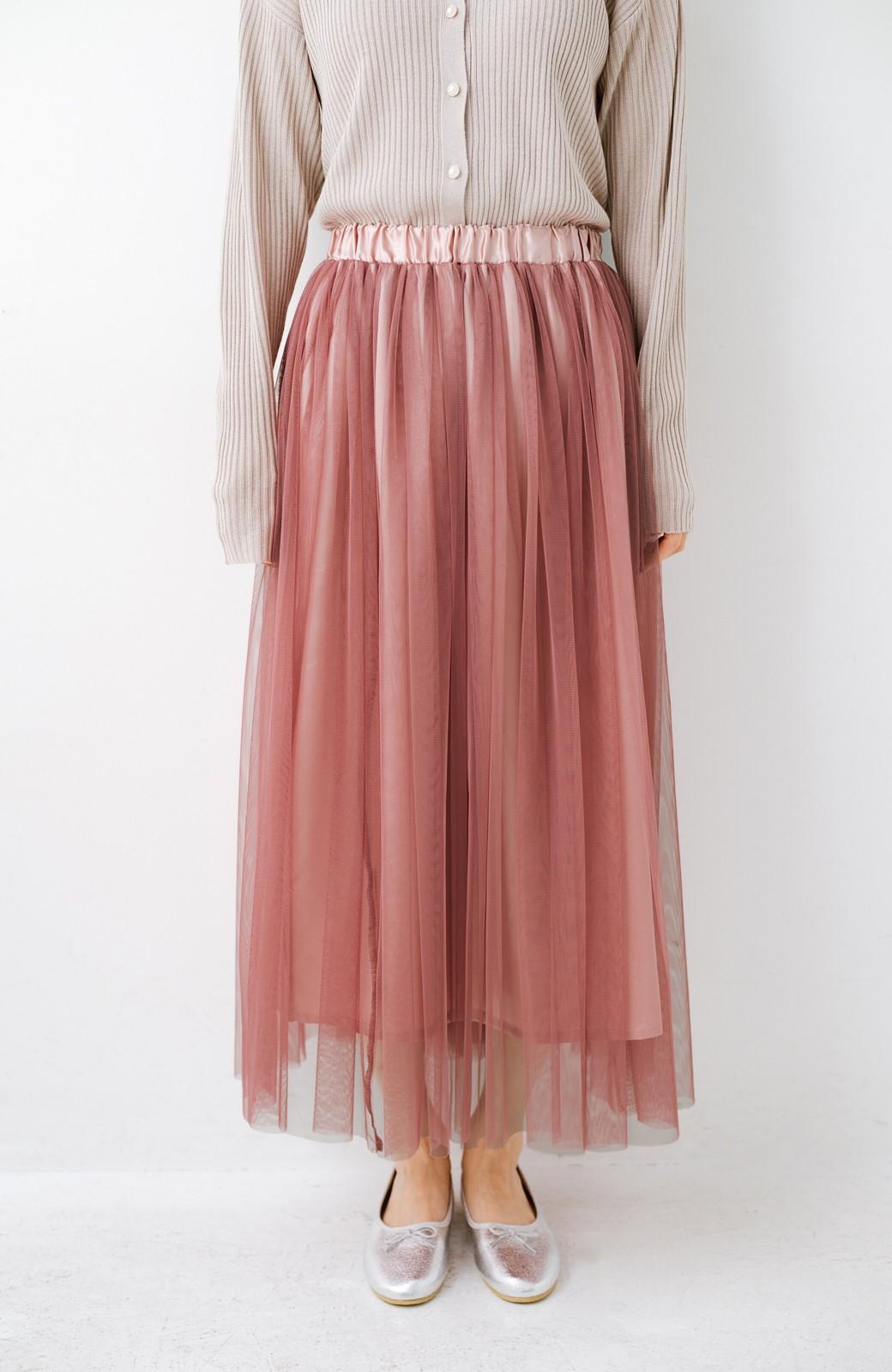 haco! 着るだけでルンとした気分になる! 長ーーい季節着られてずっと使えるオトナのためのチュールスカート <ピンク>の商品写真11