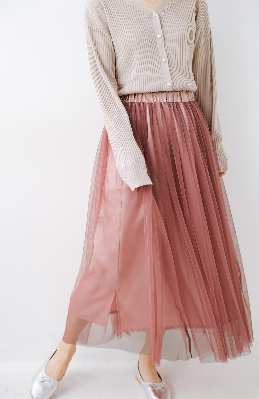 haco! 着るだけでルンとした気分になる! 長ーーい季節着られてずっと使えるオトナのためのチュールスカート <ピンク>の商品写真9