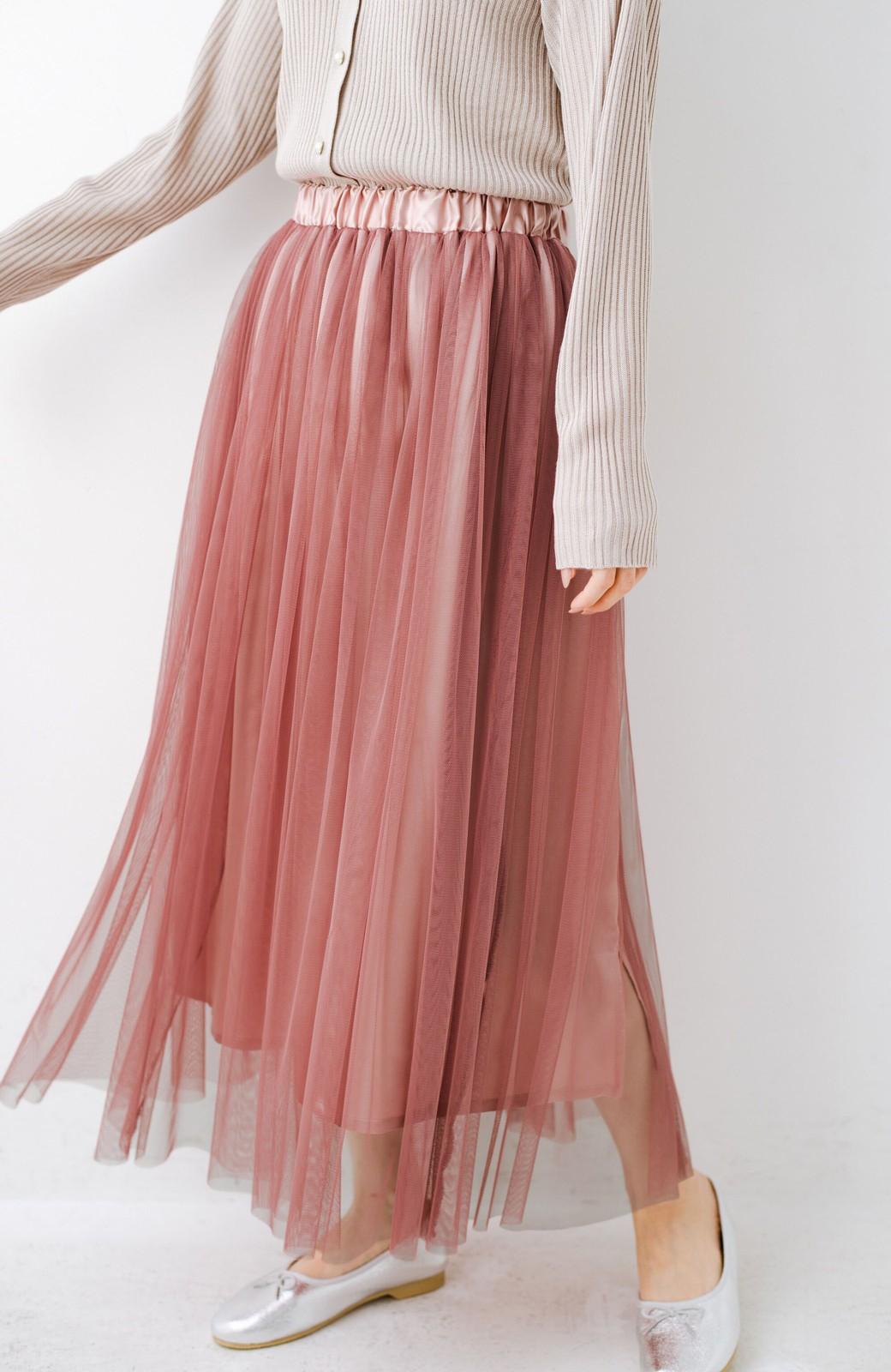haco! 着るだけでルンとした気分になる! 長ーーい季節着られてずっと使えるオトナのためのチュールスカート <ピンク>の商品写真12