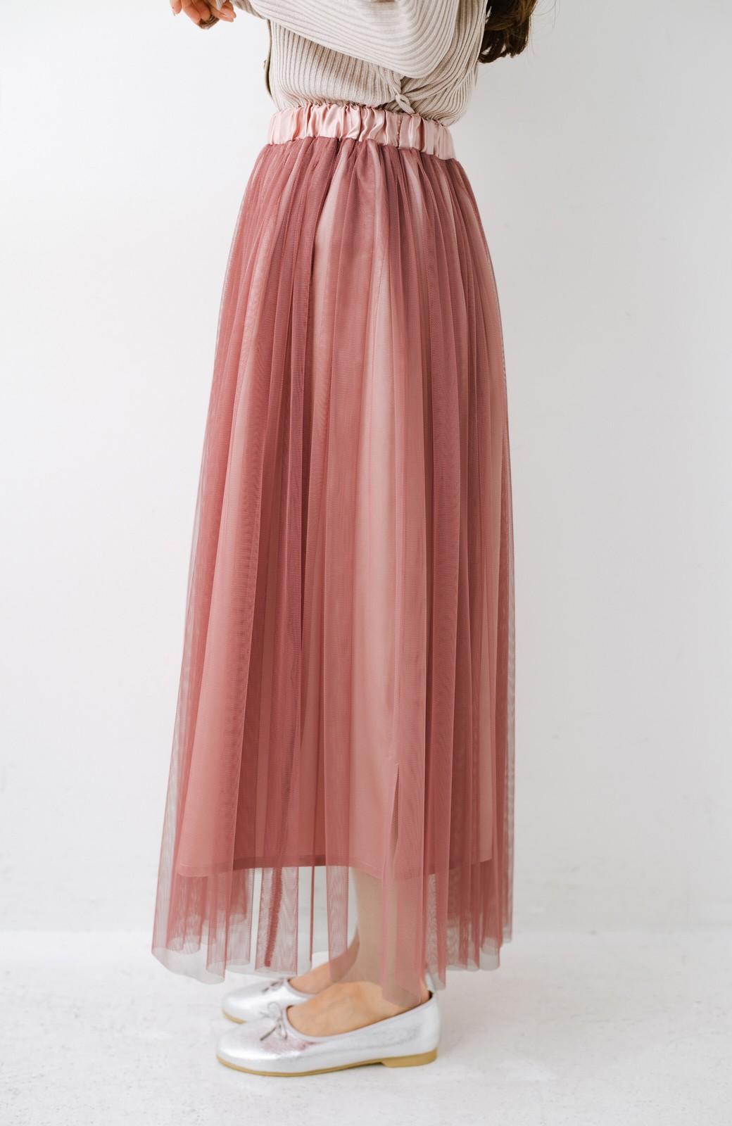 haco! 着るだけでルンとした気分になる! 長ーーい季節着られてずっと使えるオトナのためのチュールスカート <ピンク>の商品写真13
