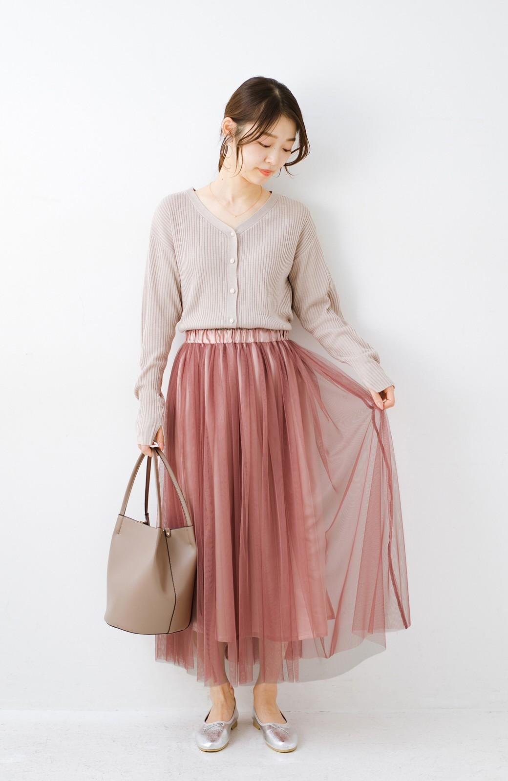 haco! 着るだけでルンとした気分になる! 長ーーい季節着られてずっと使えるオトナのためのチュールスカート <ピンク>の商品写真17
