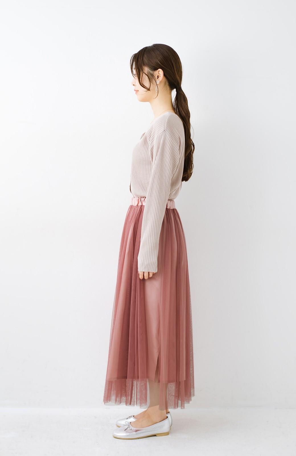 haco! 着るだけでルンとした気分になる! 長ーーい季節着られてずっと使えるオトナのためのチュールスカート <ピンク>の商品写真19
