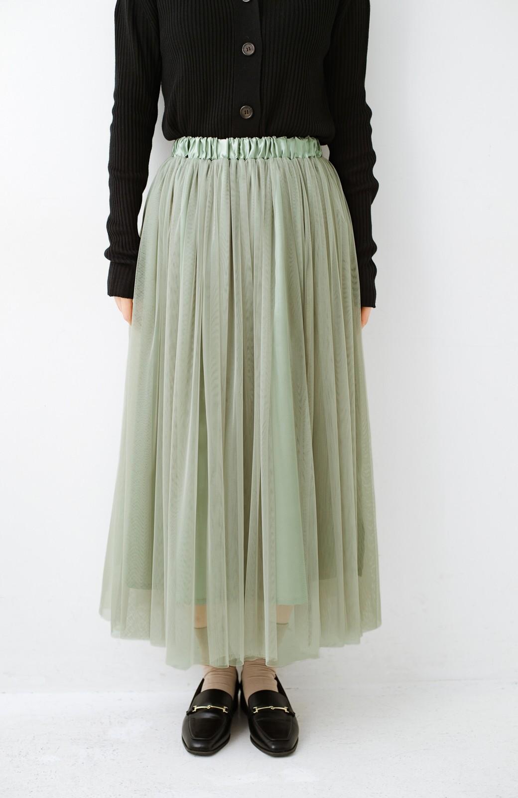 haco! 着るだけでルンとした気分になる! 長ーーい季節着られてずっと使えるオトナのためのチュールスカート <グリーン>の商品写真7