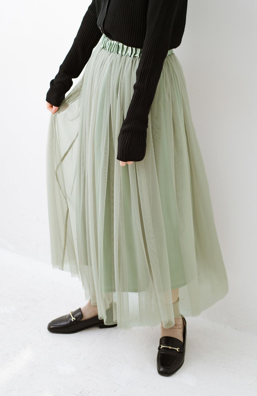 haco! 着るだけでルンとした気分になる! 長ーーい季節着られてずっと使えるオトナのためのチュールスカート <グリーン>の商品写真9