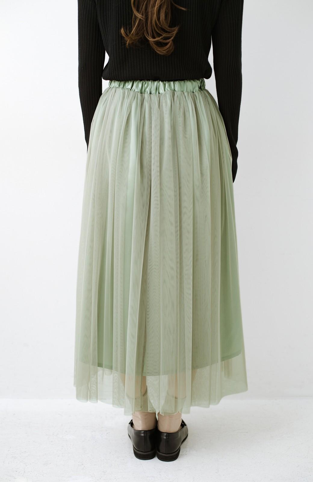 haco! 着るだけでルンとした気分になる! 長ーーい季節着られてずっと使えるオトナのためのチュールスカート <グリーン>の商品写真11
