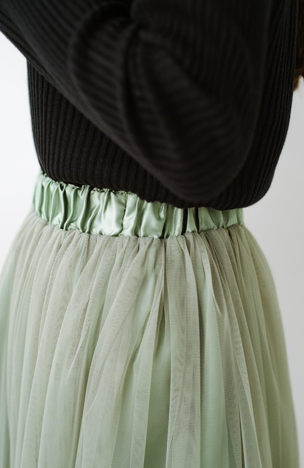 haco! 着るだけでルンとした気分になる! 長ーーい季節着られてずっと使えるオトナのためのチュールスカート <グリーン>の商品写真12