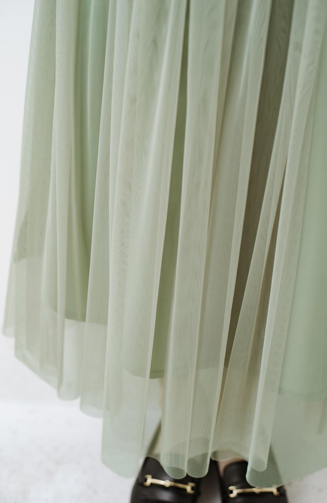 haco! 着るだけでルンとした気分になる! 長ーーい季節着られてずっと使えるオトナのためのチュールスカート <グリーン>の商品写真13