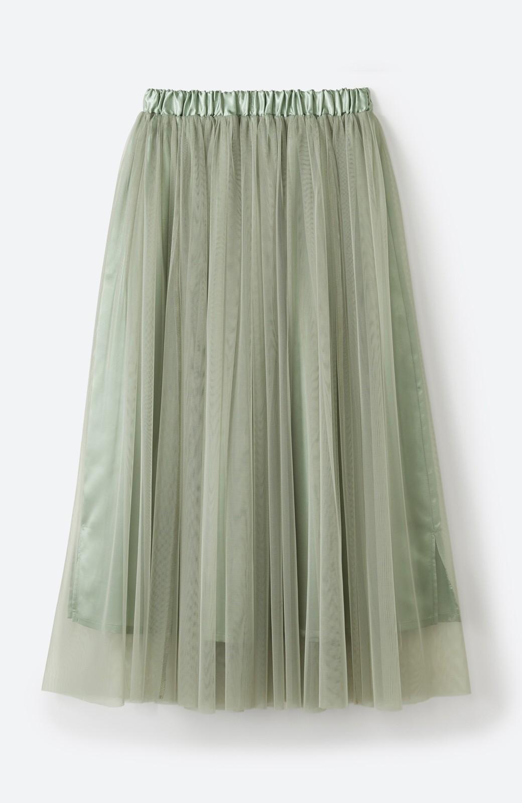 haco! 着るだけでルンとした気分になる! 長ーーい季節着られてずっと使えるオトナのためのチュールスカート <グリーン>の商品写真18