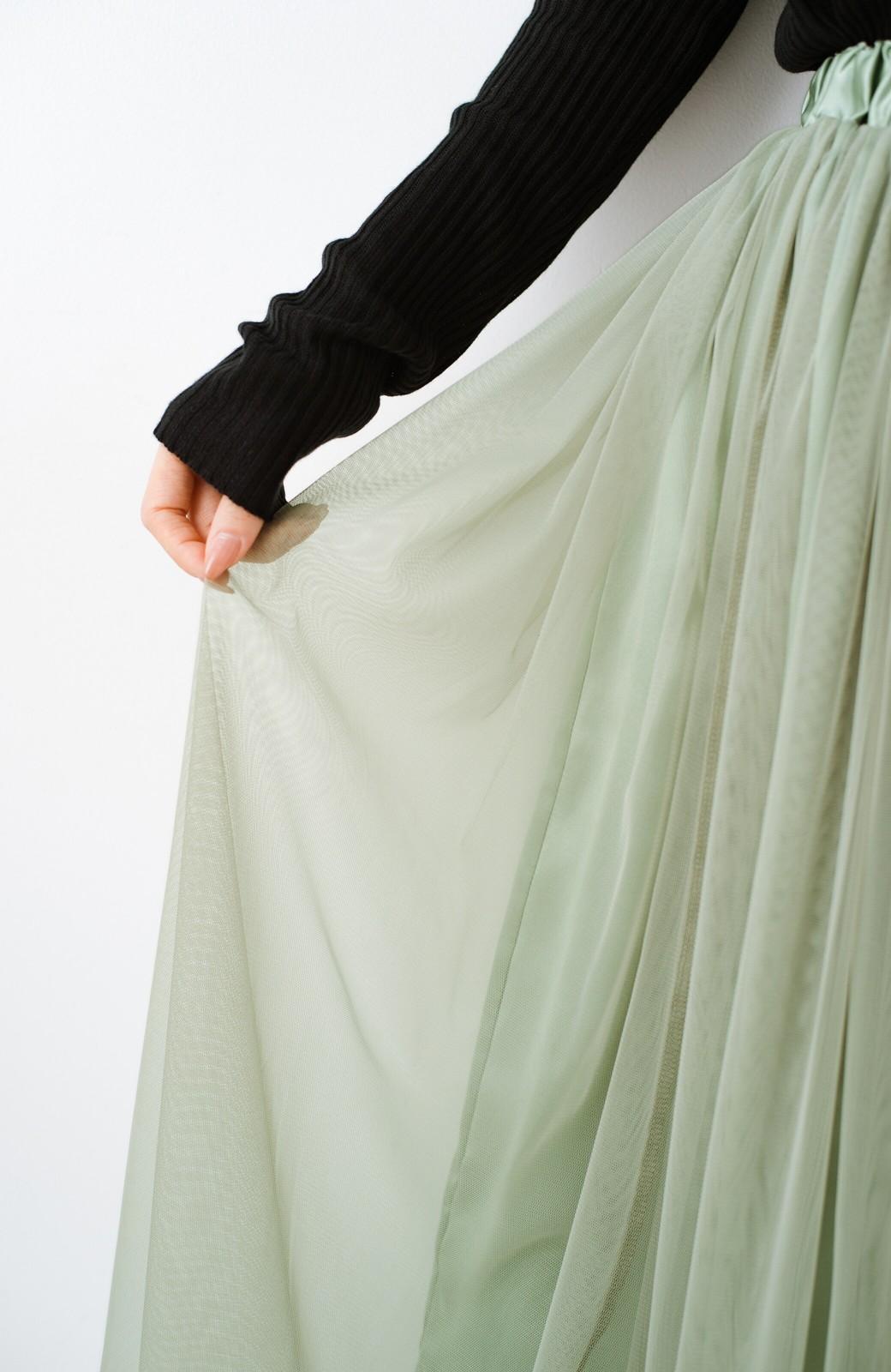 haco! 着るだけでルンとした気分になる! 長ーーい季節着られてずっと使えるオトナのためのチュールスカート <グリーン>の商品写真6