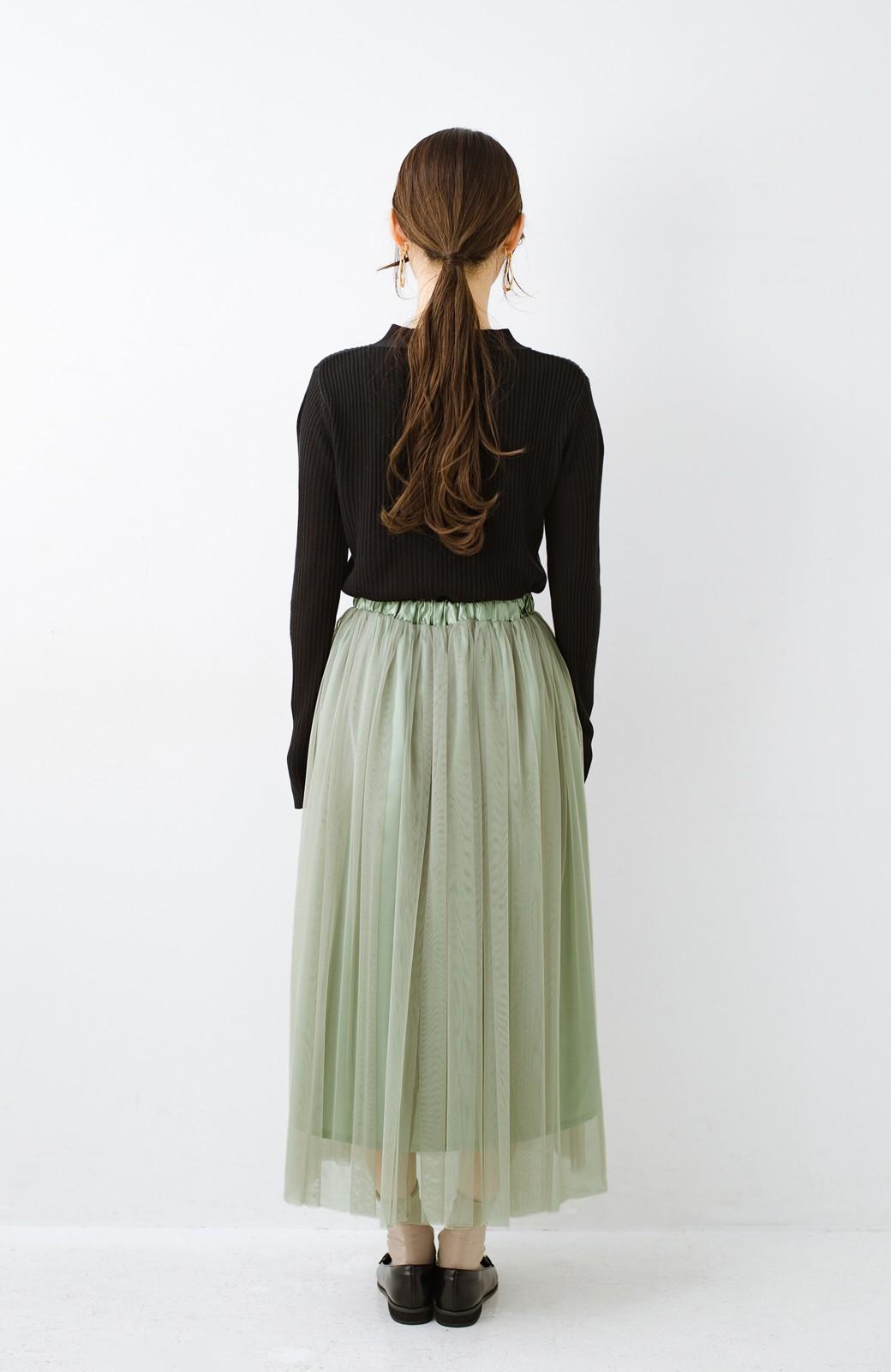 haco! 着るだけでルンとした気分になる! 長ーーい季節着られてずっと使えるオトナのためのチュールスカート <グリーン>の商品写真17