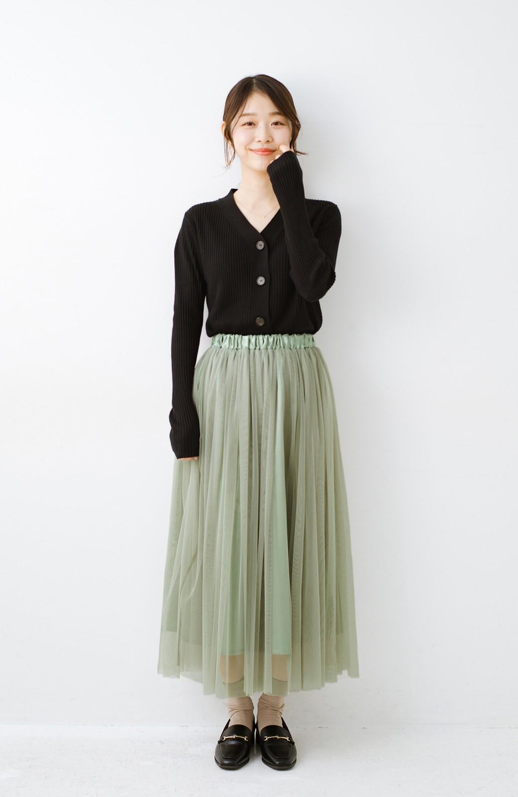 haco! 着るだけでルンとした気分になる! 長ーーい季節着られてずっと使えるオトナのためのチュールスカート <グリーン>の商品写真14