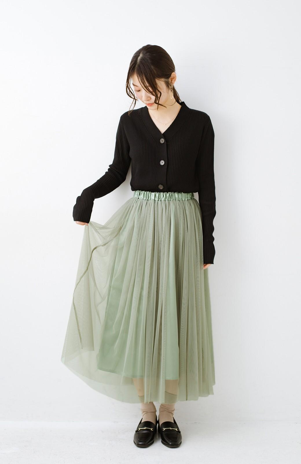 haco! 着るだけでルンとした気分になる! 長ーーい季節着られてずっと使えるオトナのためのチュールスカート <グリーン>の商品写真15