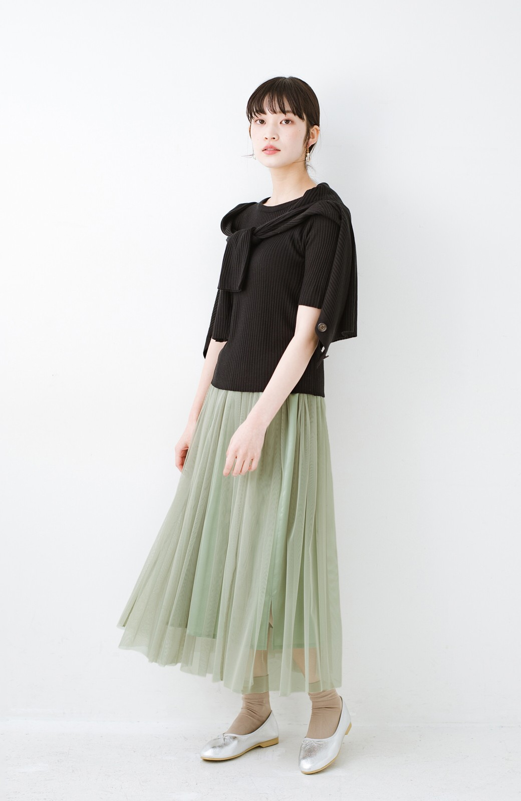 haco! 着るだけでルンとした気分になる! 長ーーい季節着られてずっと使えるオトナのためのチュールスカート <グリーン>の商品写真4