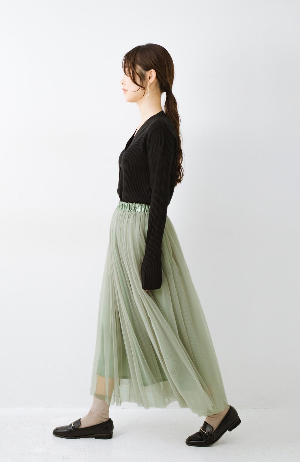 haco! 着るだけでルンとした気分になる! 長ーーい季節着られてずっと使えるオトナのためのチュールスカート <グリーン>の商品写真16