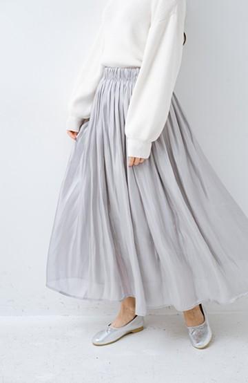haco! 1枚でも重ね着にも便利なキラキラ素材がかわいいロングスカート by laulea <ライトグレー>の商品写真
