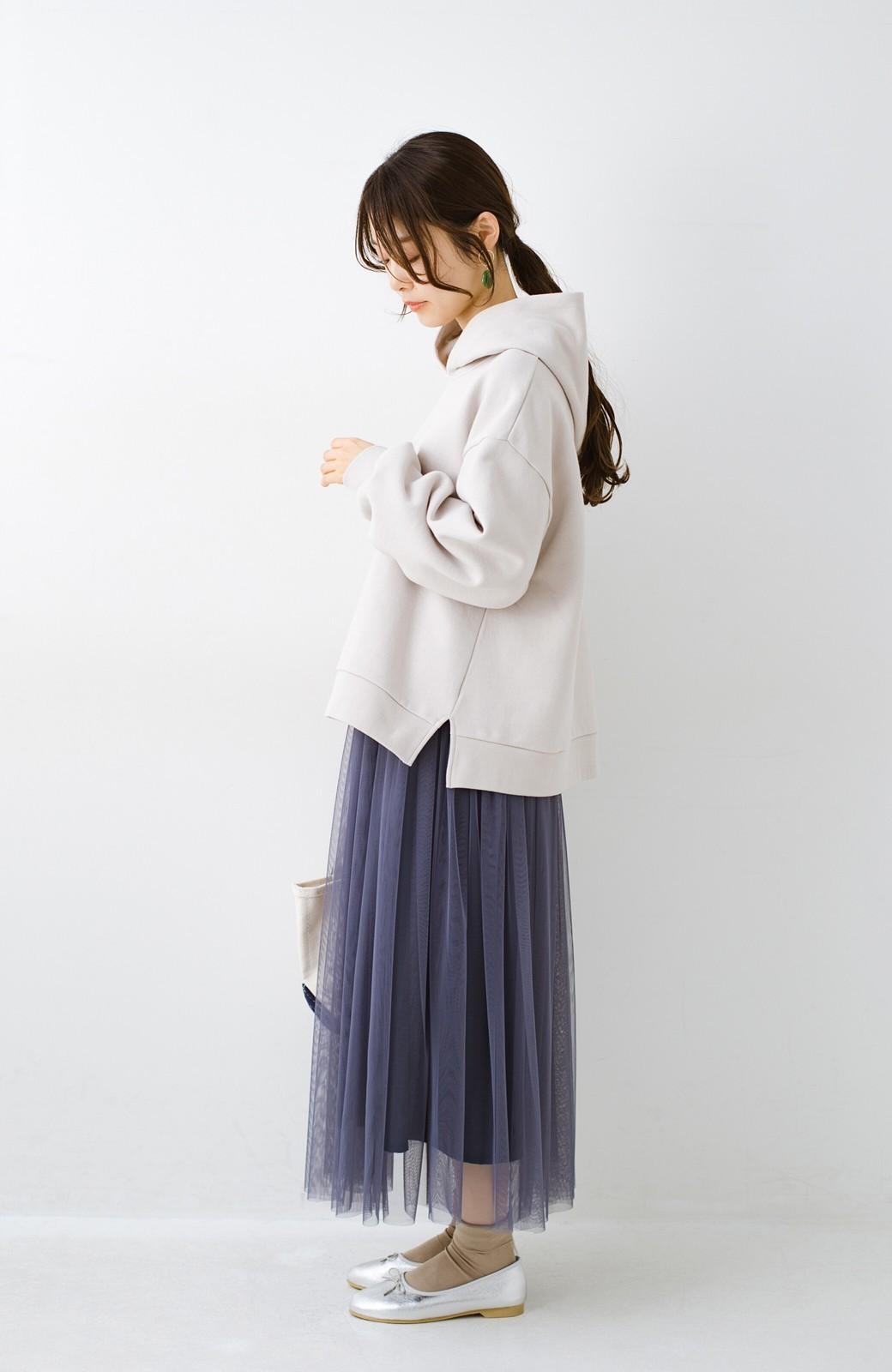 haco! 着るだけでルンとした気分になる! 長ーーい季節着られてずっと使えるオトナのためのチュールスカート <ネイビー>の商品写真11