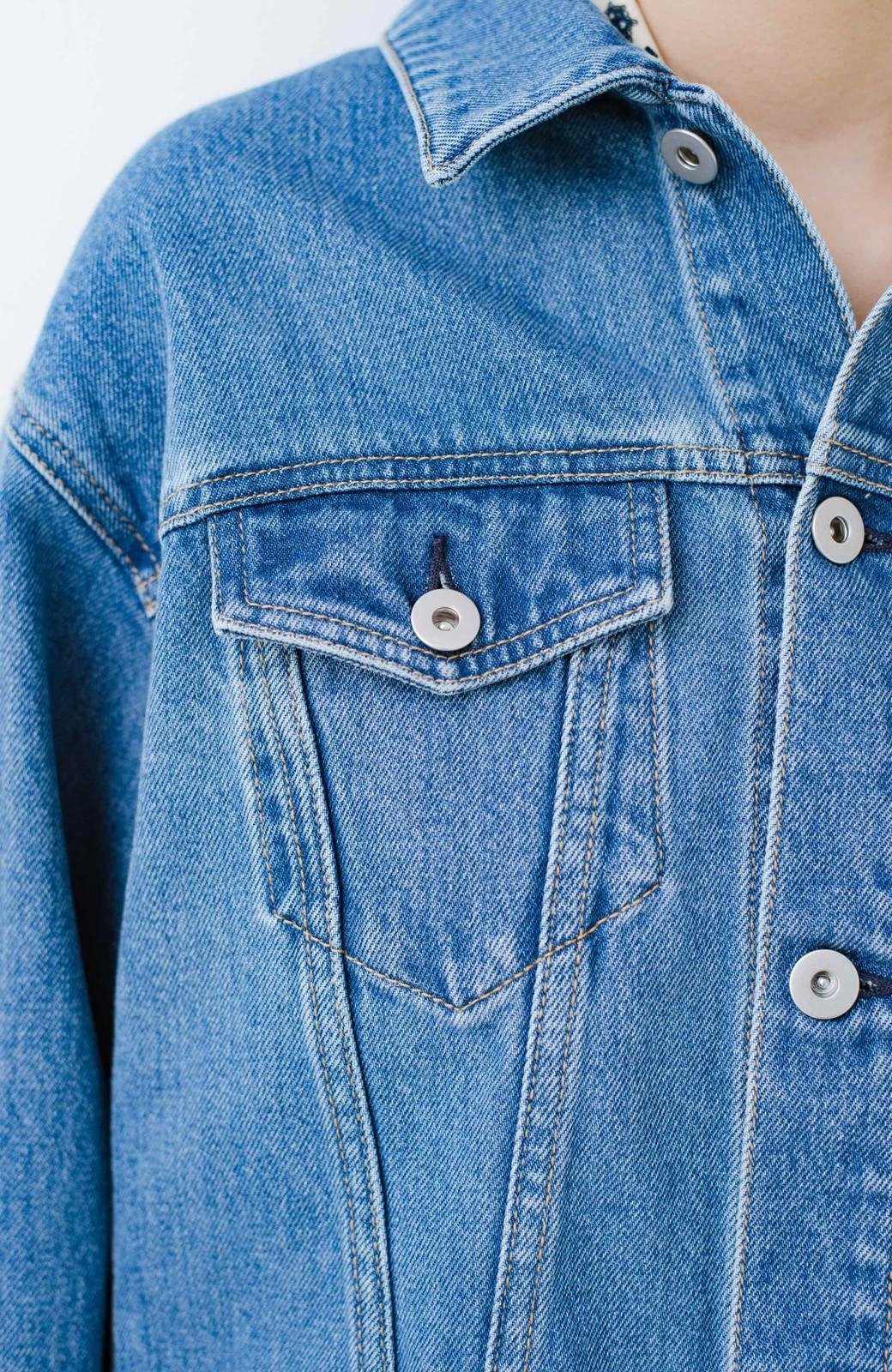 haco! サッと羽織って好バランスが完成!短め丈が使いやすいGジャン <インディゴブルー>の商品写真11