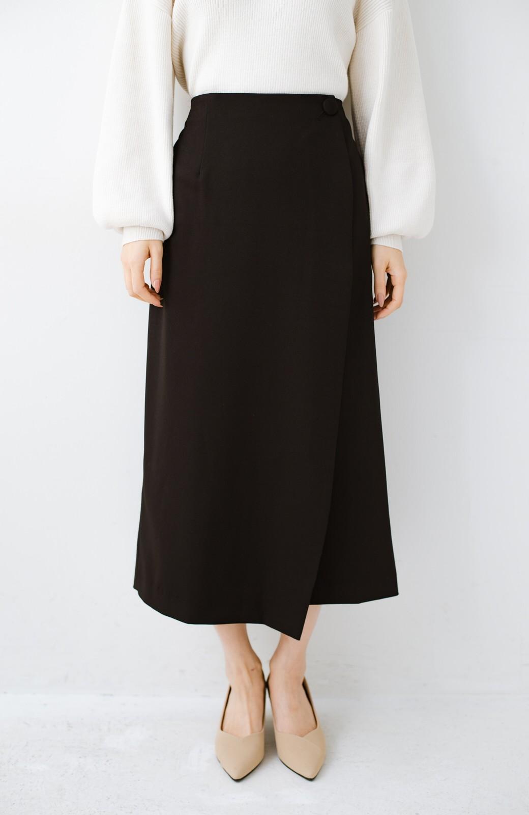 haco! いざというとき困らないための きちんと見えするラップスカート by que made me <ブラック>の商品写真3