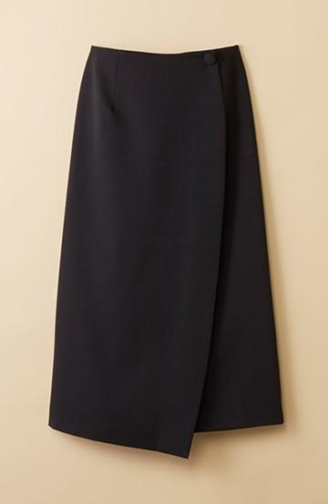 haco! いざというとき困らないための きちんと見えするラップスカート by que made me <ブラック>の商品写真