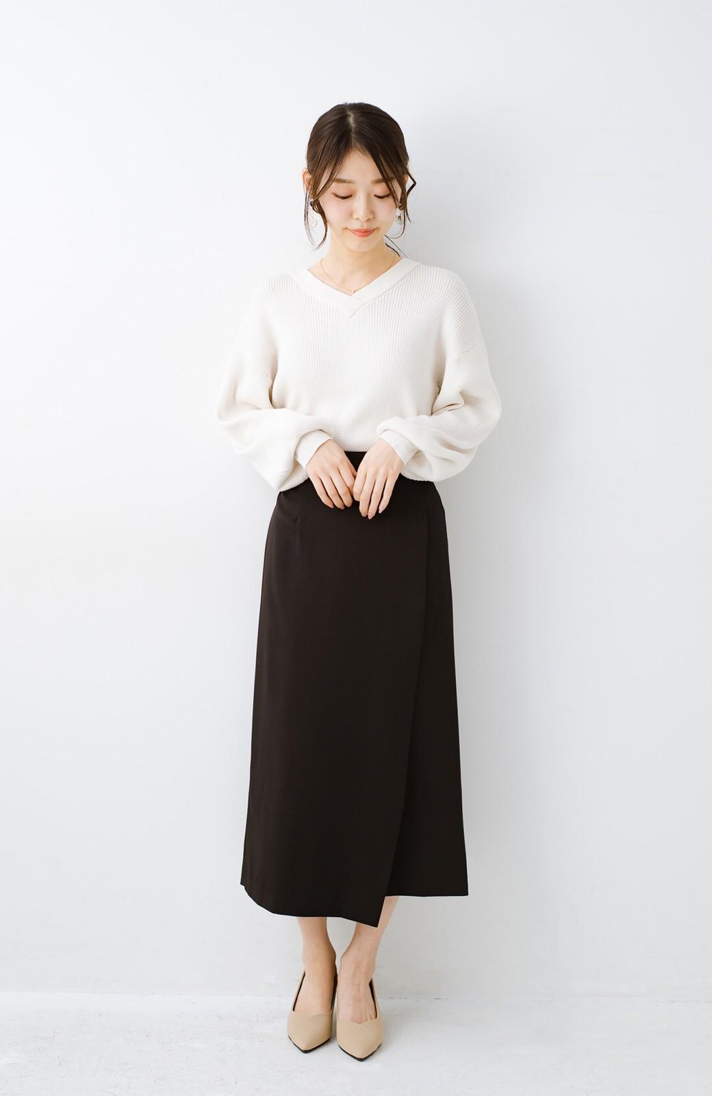 haco! いざというとき困らないための きちんと見えするラップスカート by que made me <ブラック>の商品写真8